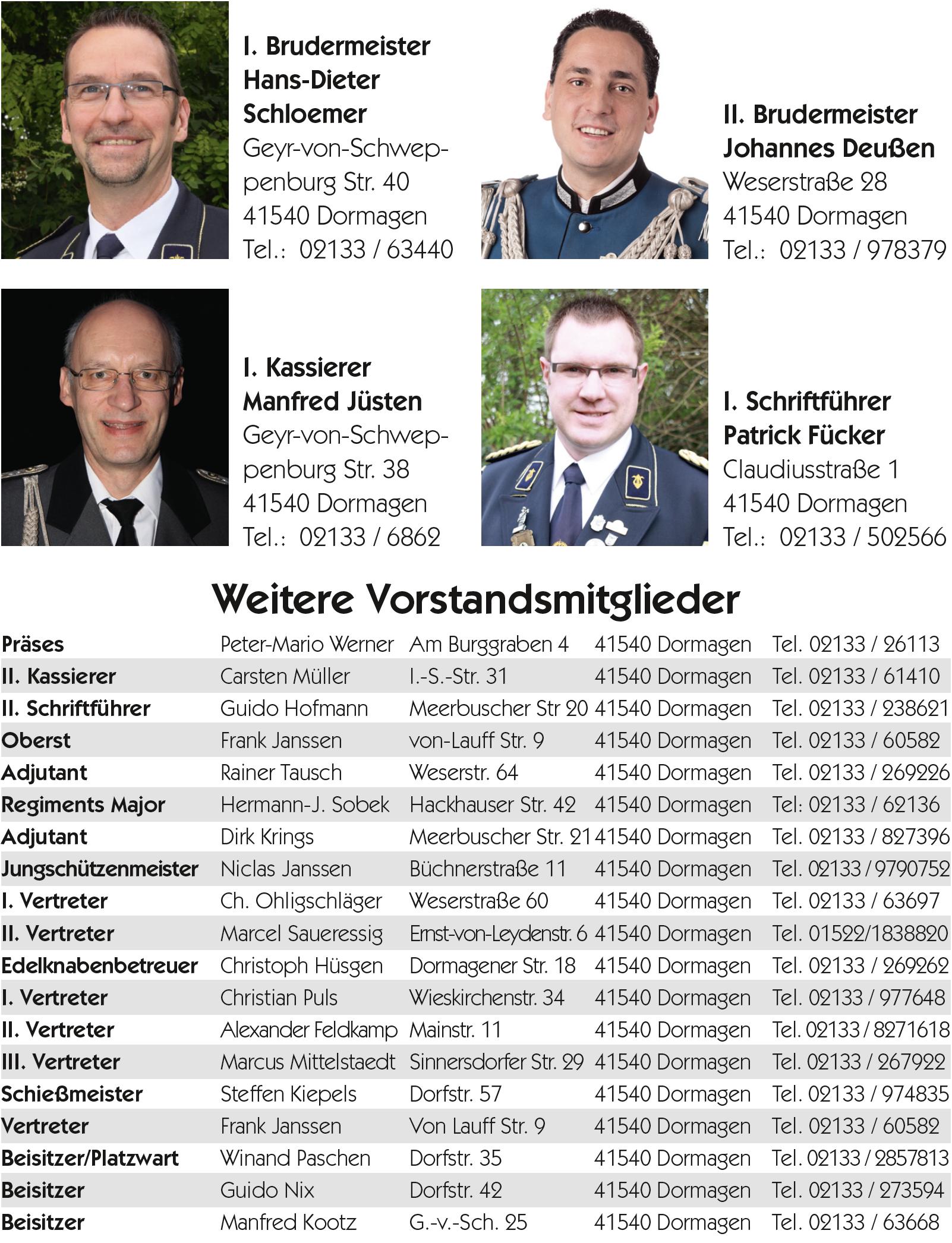 Vorstand der Hackenbroicher Bruderschaft
